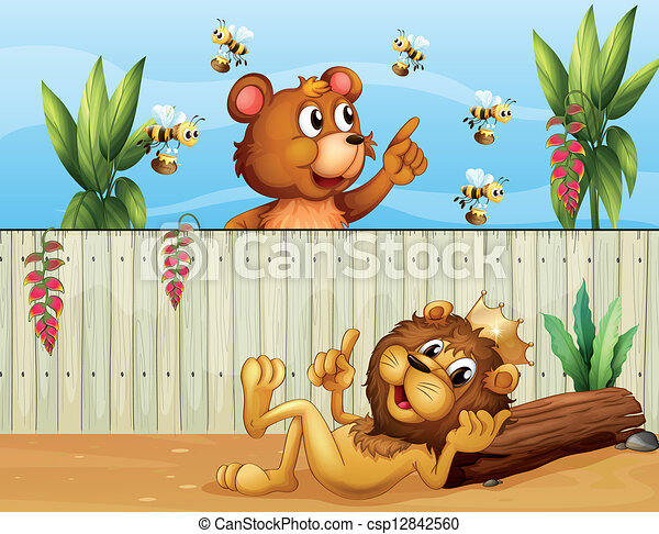 A lion, a bear and bees - csp12842560