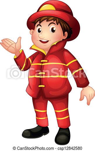 bombero, completo, uniforme - csp12842580