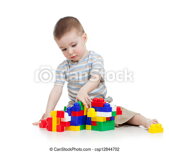 baby boy playing with block toy over white background - csp12844702
