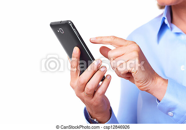 Hands of woman with a smartphone. - csp12846926
