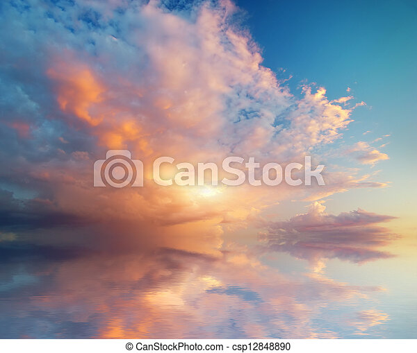 ciel, fond, Coucher soleil - csp12848890