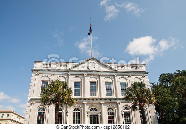Government Building by Palm Trees - csp12850102