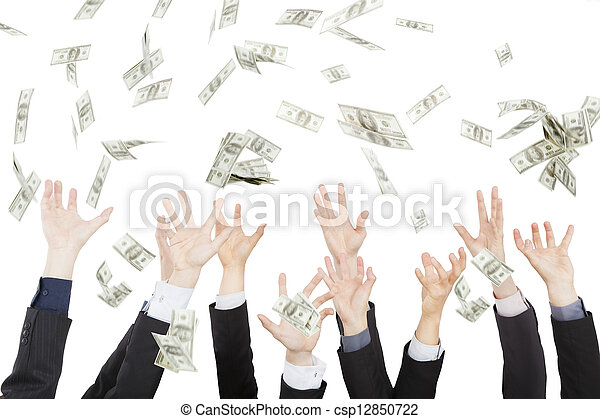 Many dollars falling on business people hand  - csp12850722