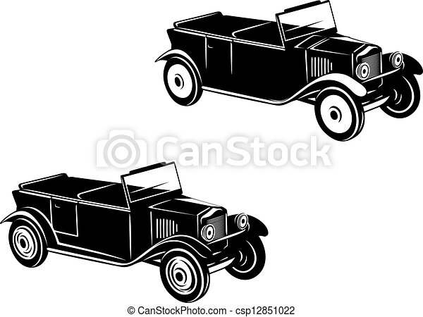 1920s Cars Drawing Retro Car of 1920-1930 Year