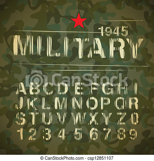 Military Vintage Alphabet - csp12851107