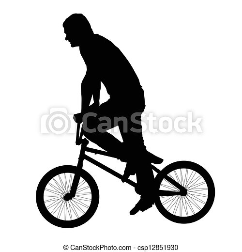 Black silhouette of a young man on a bike - csp12851930
