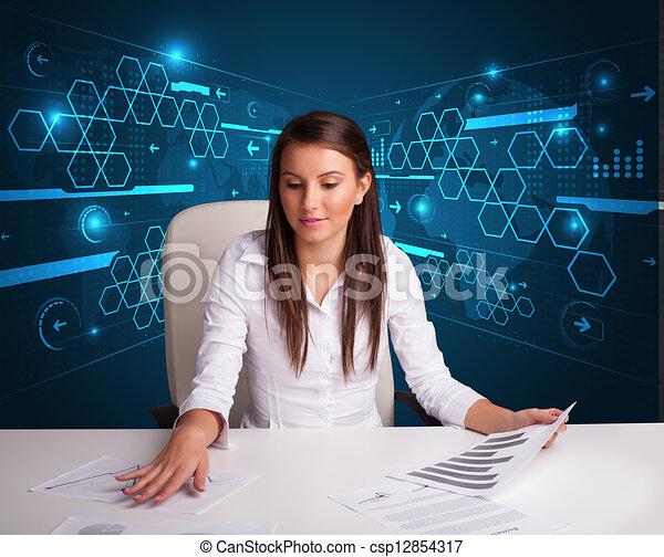 Clipart Di Donna D 39 Affari Lavoro Ufficio Futuristico