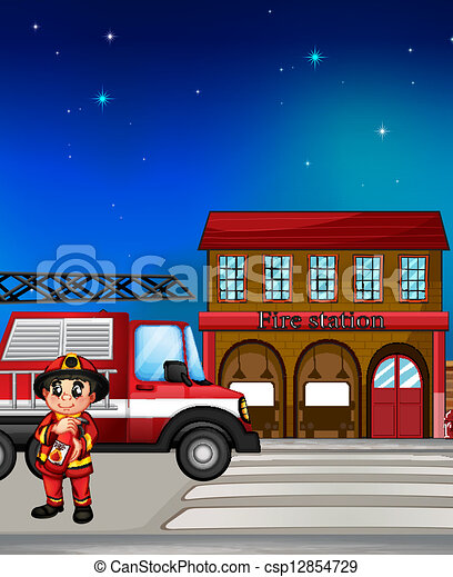 Vector Illustration Of A Fireman Near The Fire Station