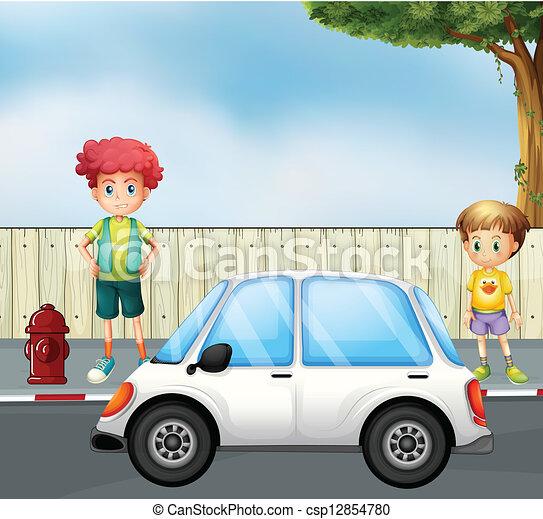 Vecteur a gar on enfant rue voiture banque d for Rue des garcons