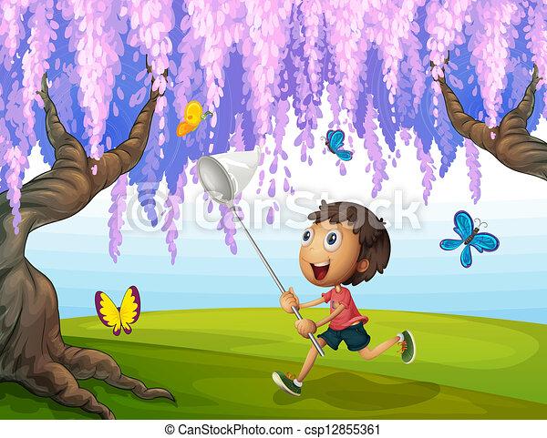 A boy catching butterflies at the park - csp12855361