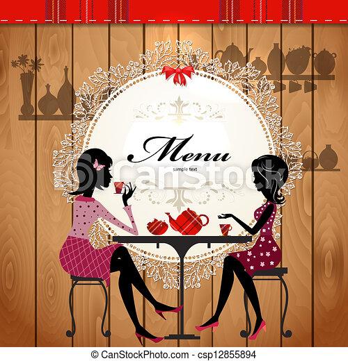 Menu card design for a cute cafe - csp12855894