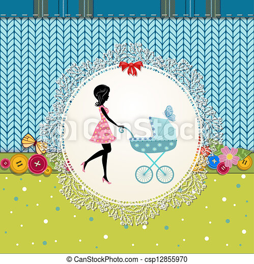 Scrapbooking with a baby carriage and a young mother - csp12855970