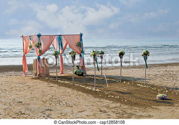 Flower decoration at the beach wedding venue - csp12858108
