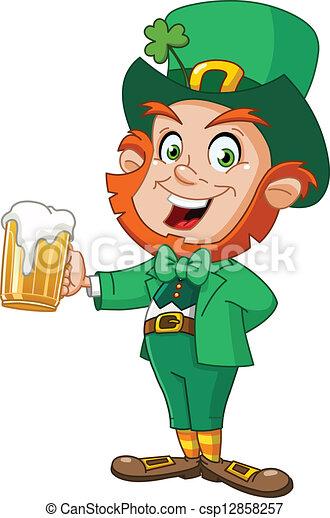 Leprechaun with beer - csp12858257