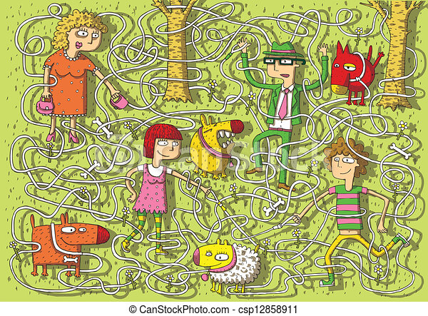 Walking Dogs in Park Maze Game - csp12858911