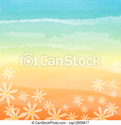 spring flowers in blue peach background - csp12859817