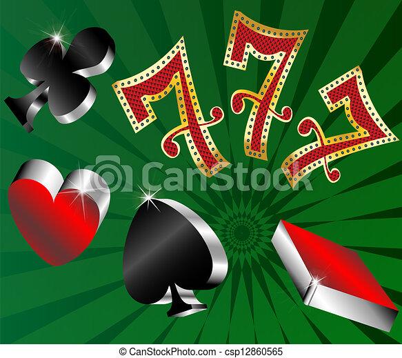 gambling icons cards shiny metallic - csp12860565