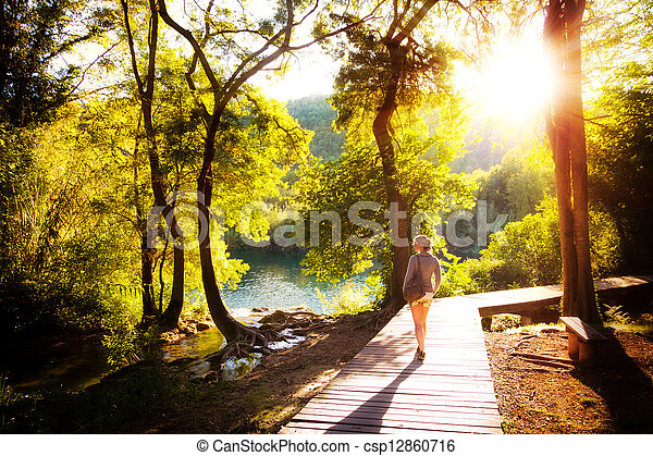 Krka sunset forest walk - csp12860716