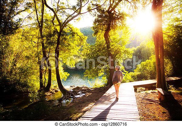 Krka sunset forest walk - csp12860716