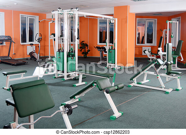 Sports hall with training apparatus - csp12862203