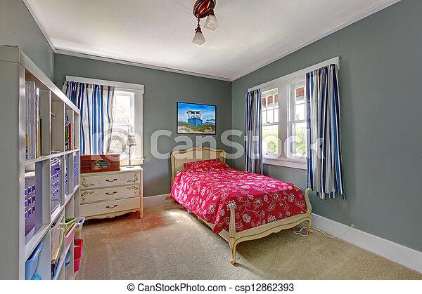 Stock fotografieken van geitjes slaapkamer rood bed grijze muren geitjes csp12862393 - Beeld van tiener meisje slaapkamer ...