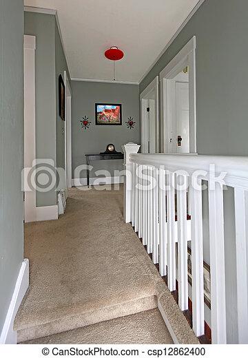 photographies de gris couloir blanc balustrade baige moquette gris csp12862400. Black Bedroom Furniture Sets. Home Design Ideas