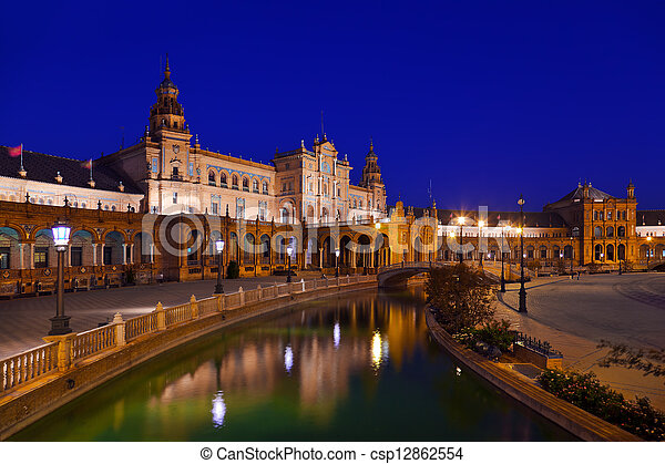 Palace at Spanish Square in Sevilla Spain - csp12862554