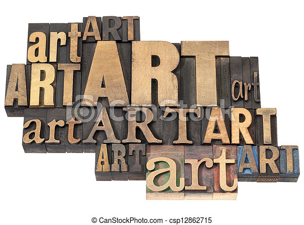 art word abstract in wood type - csp12862715