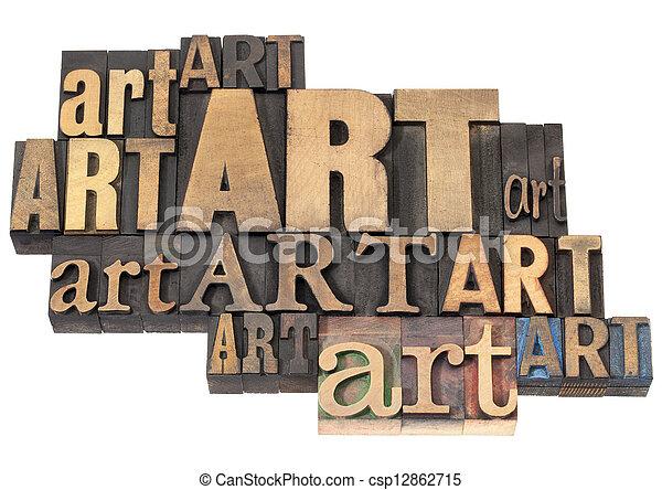 芸術, 抽象的, 木, 単語, タイプ - csp12862715