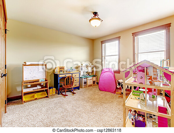 Kids play room with toys. Interior. - csp12863118