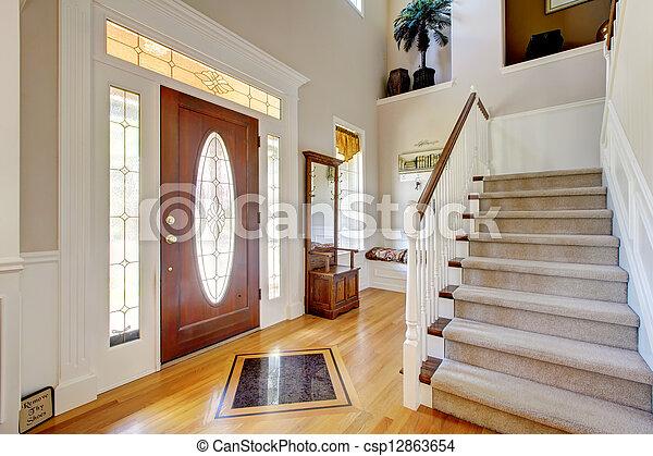 Images de entr e classique staircase am ricain for Deco interieur maison americaine