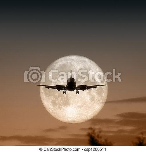 air plane full moon - csp1286511