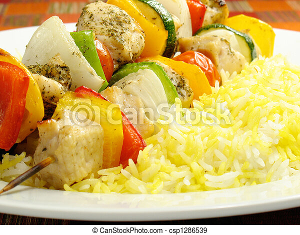Chicken Kebab and Saffron Rice - csp1286539
