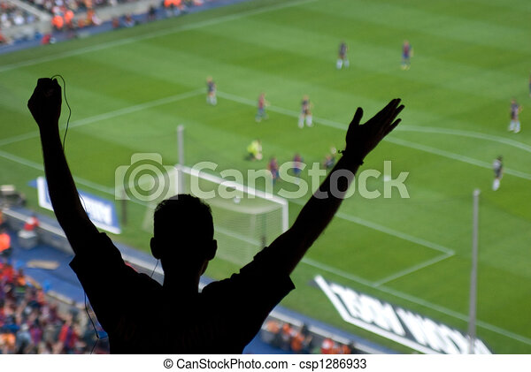 A soccer fan cheering for - csp1286933