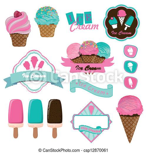 Ice Cream Shops Logos Vector Vector Ice Cream Logo