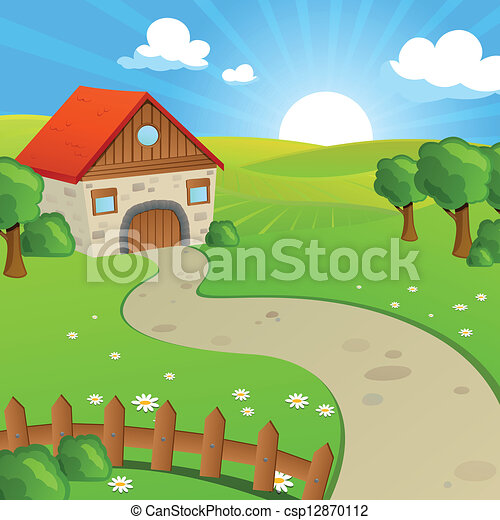 Vector Landscape with Fields and Hills - csp12870112