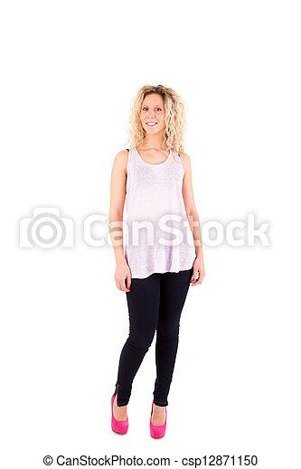 Beautiful blonde woman posing  - csp12871150