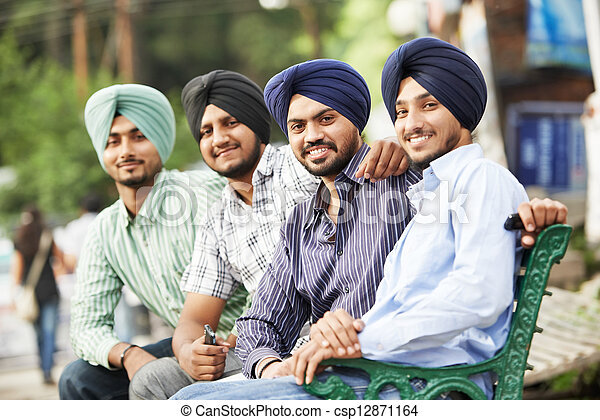 Young adult indian sikh men - csp12871164