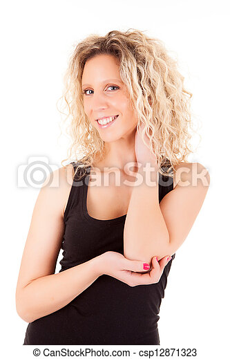 Beautiful blonde woman posing  - csp12871323