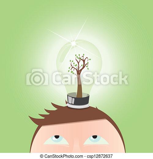 groene, –, verstand, denken, menselijk - csp12872637