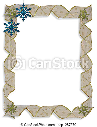 Image and illustration Composition Christmas design with snowflake ornaments and curled ribbon for border or frame with copy space.