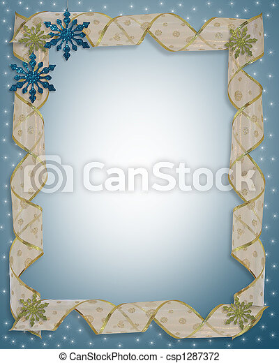 Christmas design with snowflake ornaments and curled ribbon for border or frame with copy space.