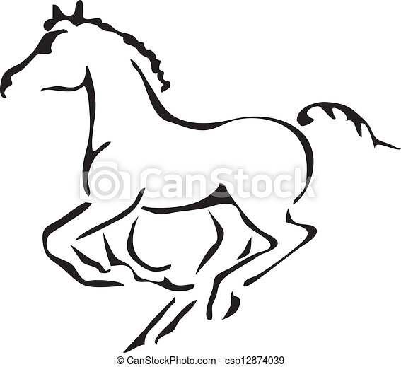 vectors of black and white vector outlines of galloping Vector Illustration Cartoon Digital Illustration