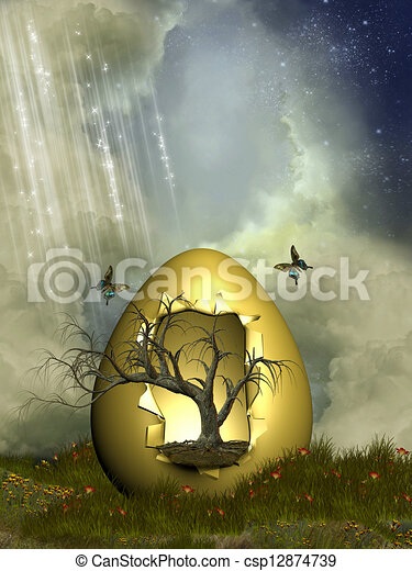 Fantasy egg with tree - csp12874739