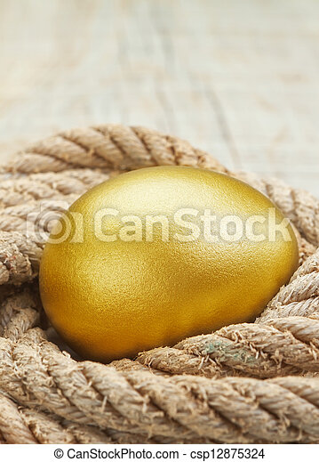 Easter golden egg against the ropes. - csp12875324