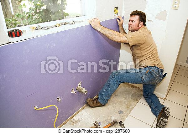 trabalhador,  drywall, instalar - csp1287600