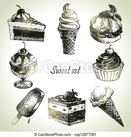 Sweet set. Hand drawn illustrations of cake and ice cream - csp12877081