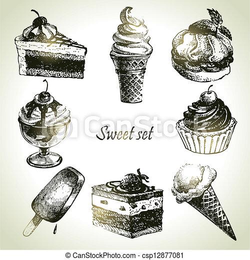 Sweet set. Hand drawn illustrations of cake and ice cream - csp12877081