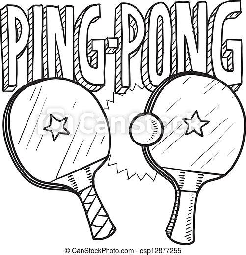 Vecteur clipart de ping pong sports croquis - Dessin tennis de table ...