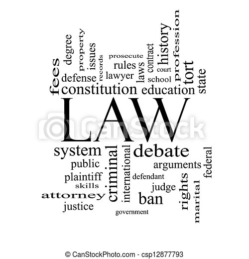 Law Word Cloud Concept in black and white - csp12877793
